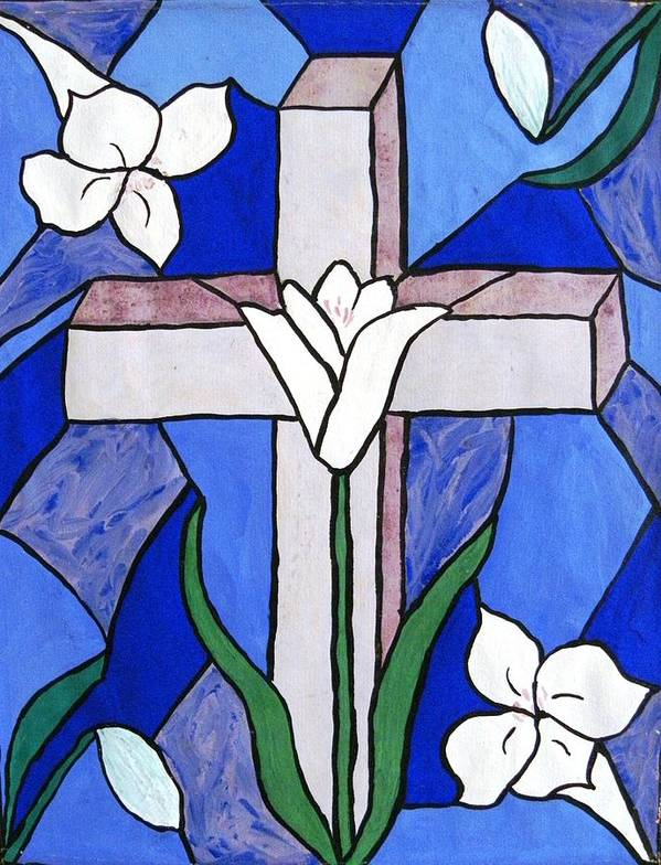Easter Poster featuring the painting Cross and Lilies by Peggy King