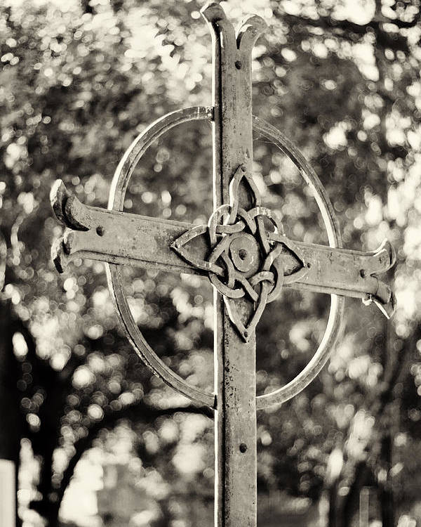Cross Poster featuring the photograph Cross At Dublin Pioneer Cemetery by Troy Montemayor