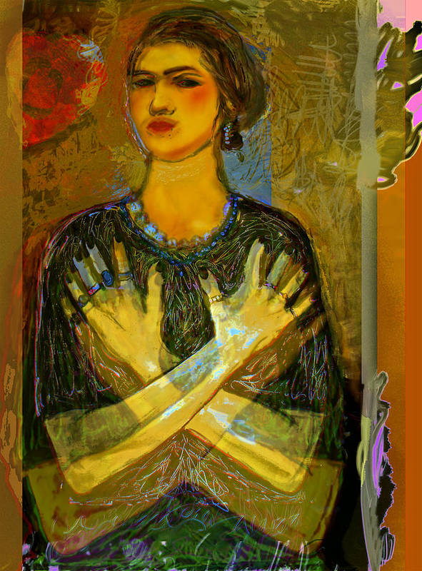 Female Poster featuring the painting Cross My Heart by Noredin Morgan