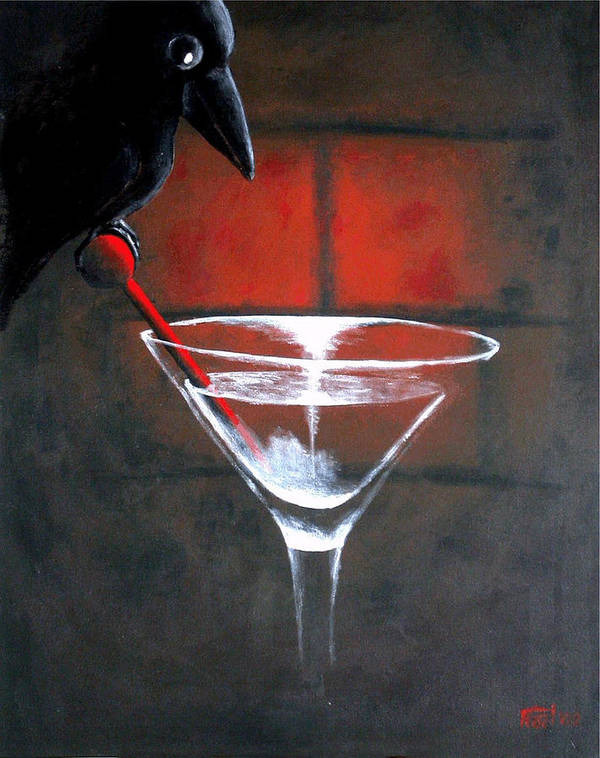 Crow Martini Poster featuring the painting Crow by Poul Costinsky