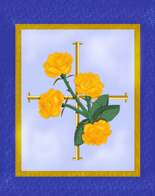 Golden Roses Poster featuring the painting Crusader Cross And Four Gospel Roses by Anne Norskog