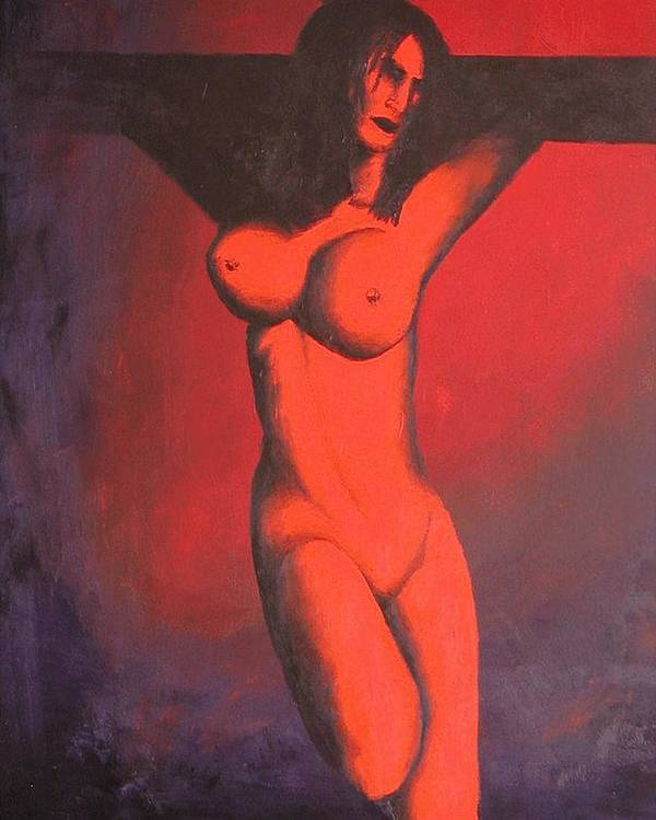 Nude Poster featuring the painting Crux by Poul Costinsky