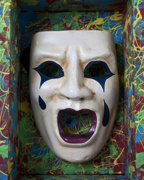Crying Poster featuring the photograph Crying Mask In Box by Garry Gay