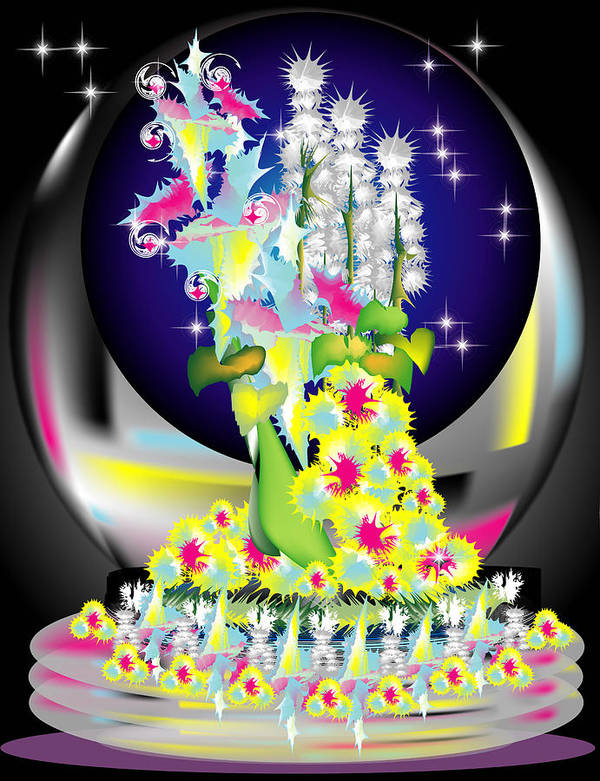 Flowers Poster featuring the digital art Crystal Boquet II by George Pasini
