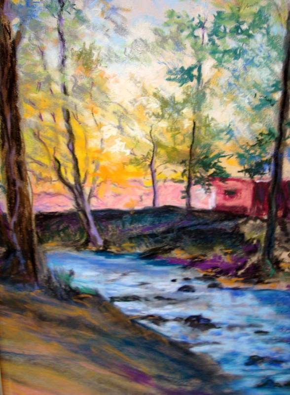 Landscape Poster featuring the painting Crystal Clear Creek by Anne Dentler