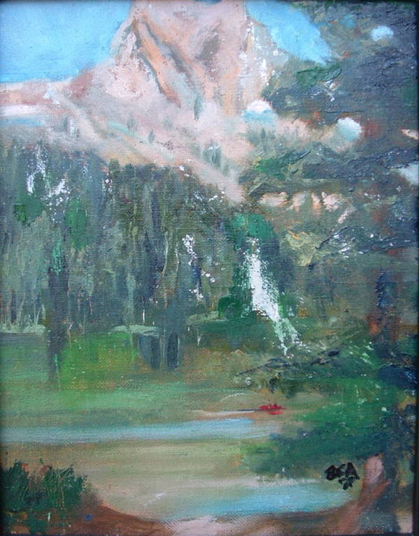 Lake Landscape Mountains Poster featuring the painting Crystal Craig At Pine Lake by Bryan Alexander