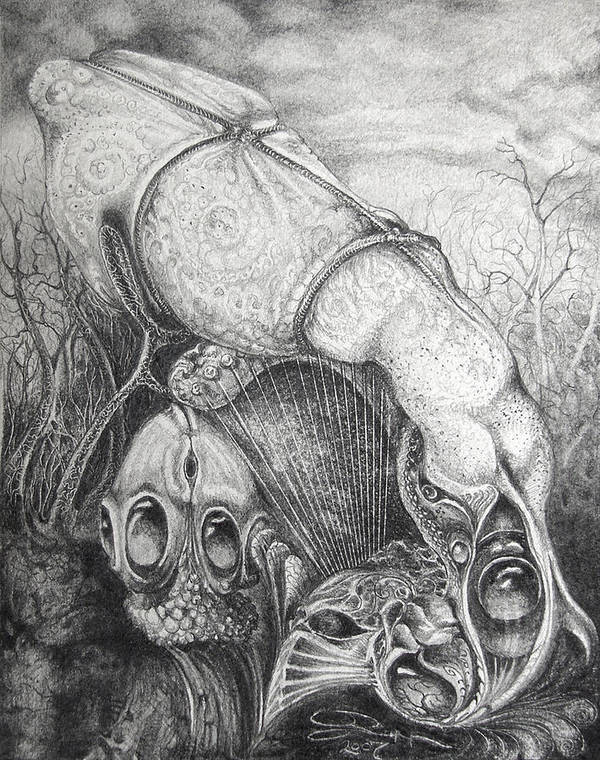 Surrealism Poster featuring the drawing Ctulhu Seedpods by Otto Rapp
