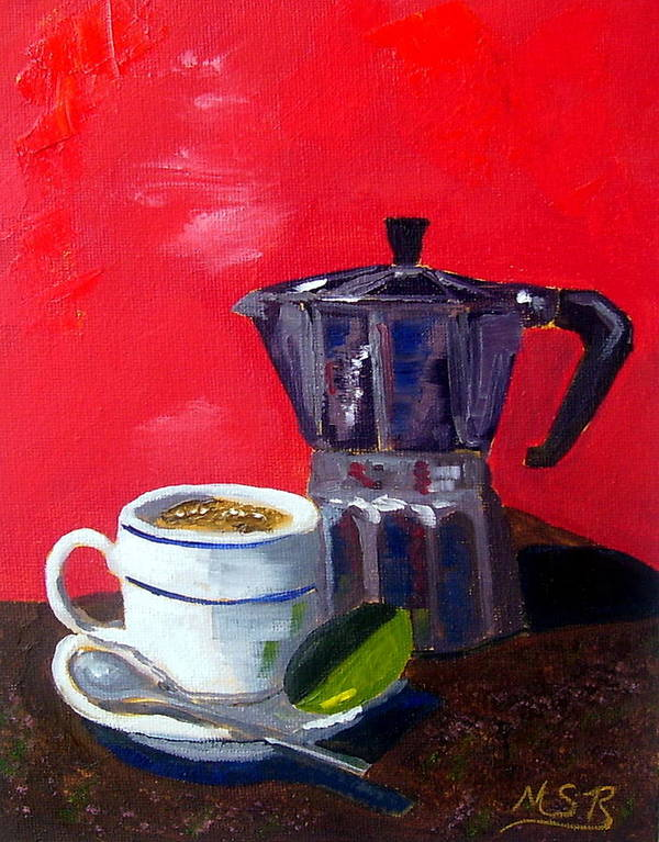 Cuban Coffee Poster featuring the painting Cuban Coffee And Lime Red by Maria Soto Robbins