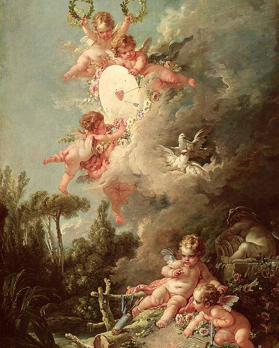 Cupid Poster featuring the painting Cupids Target by Francois Boucher