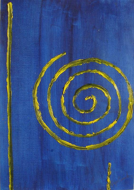 Abstract Oil Painting Poster featuring the painting Curlicue Yellow by Roger Cummiskey