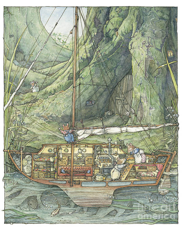 Brambly Hedge Poster featuring the drawing Cutaway Of Dustys Boat by Brambly Hedge