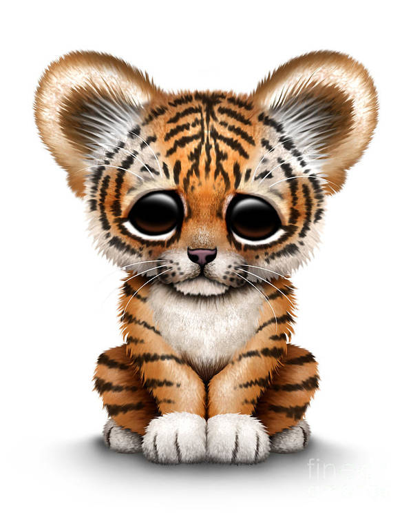 Tiger Poster Featuring The Digital Art Cute Baby Cub By Jeff Bartels