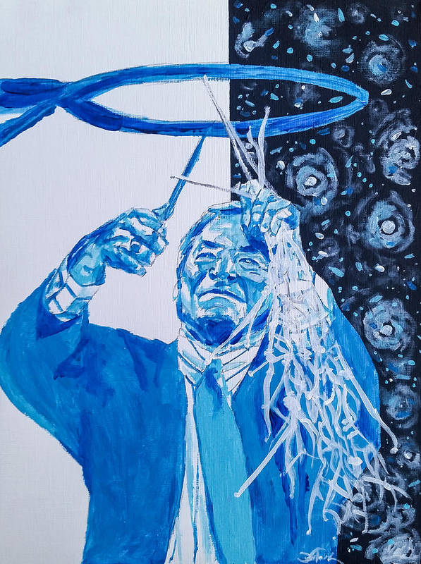 Dean Smith Poster featuring the painting Cutting Down The Net - Dean Smith by Joel Tesch
