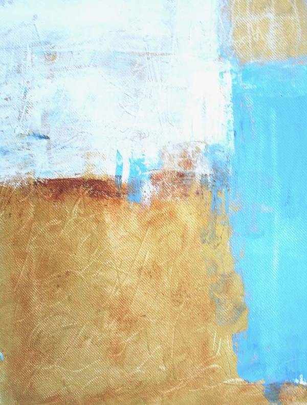 Abstract Blue Poster featuring the painting Cyan No 21 by Susan Grissom