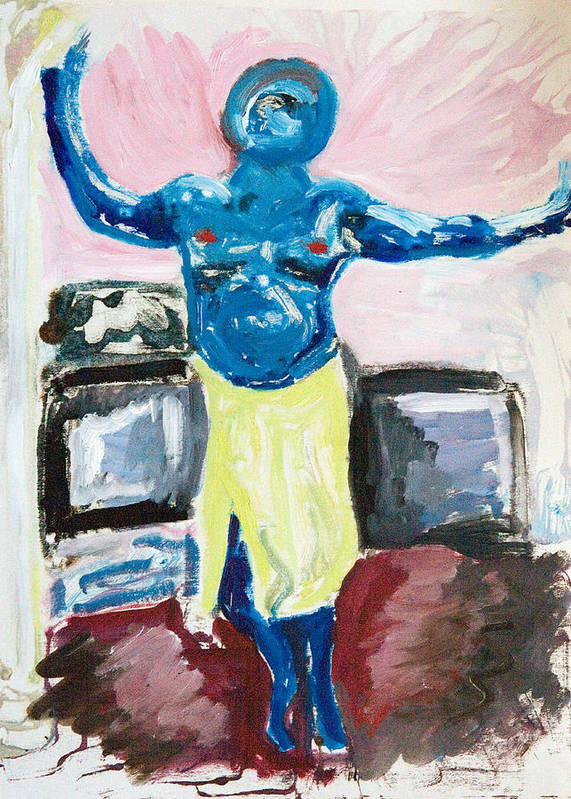 Cyclops Poster featuring the painting Cyclops At Home by John Toxey