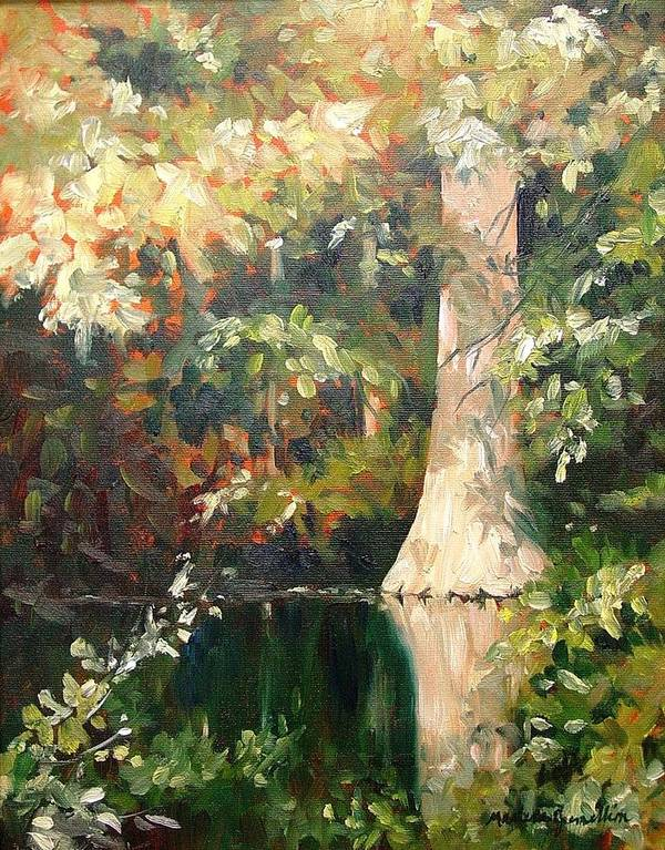 Landscape Poster featuring the painting Cypress in Sun by Marlene Gremillion