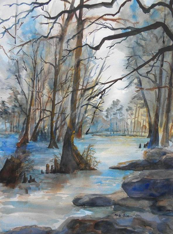 Landscape Poster featuring the painting Cypress Knees by Kris Dixon