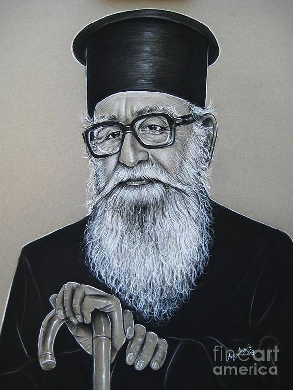 Priest Poster featuring the painting Cypriot Priest by Anastasis Anastasi