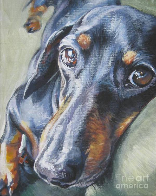 Dog Poster featuring the painting Dachshund Black And Tan by Lee Ann Shepard
