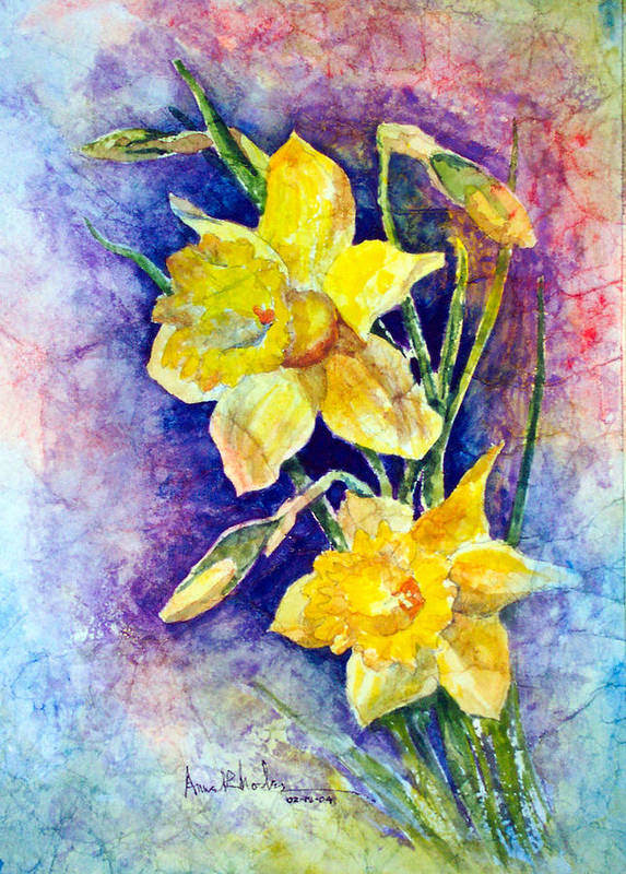 Daffodils Poster featuring the painting Daffodils by Anne Rhodes