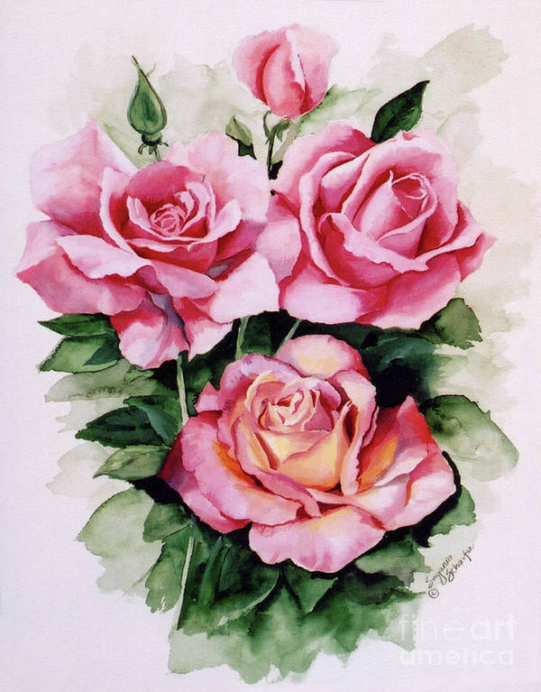 Roses Poster featuring the painting Dainty Ladies by Suzanne Schaefer
