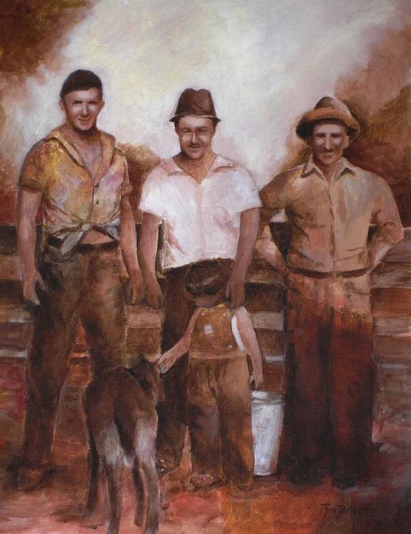 Farm Poster featuring the painting Dairymen by Jun Jamosmos