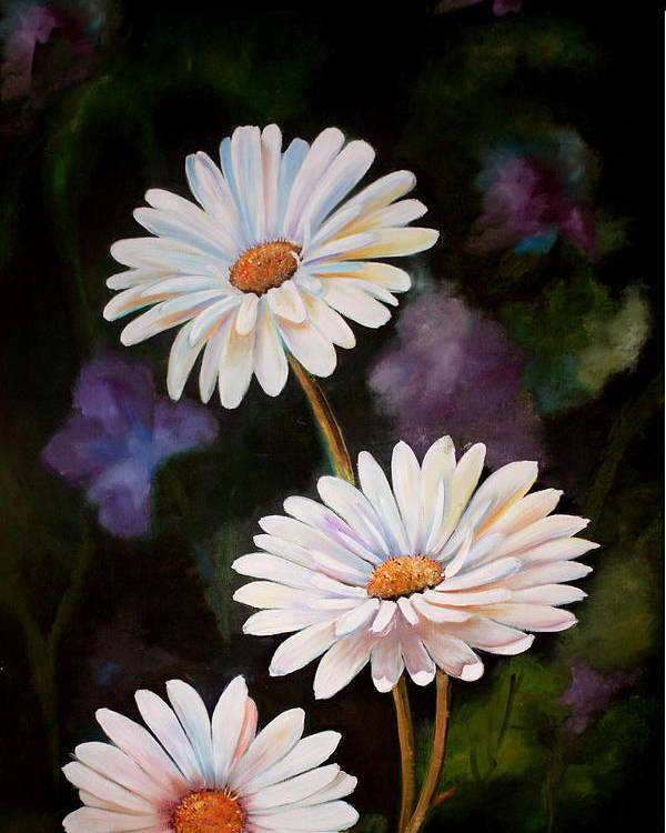 Flowers Poster featuring the painting Daisies by Ansie Boshoff