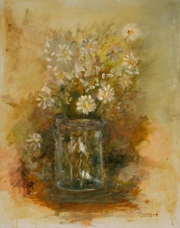 Floral Still Life Poster featuring the painting Daisies In A Jar by Betty Stevens