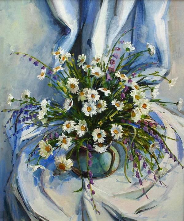 Armenian Poster featuring the painting Daisies by Tigran Ghulyan