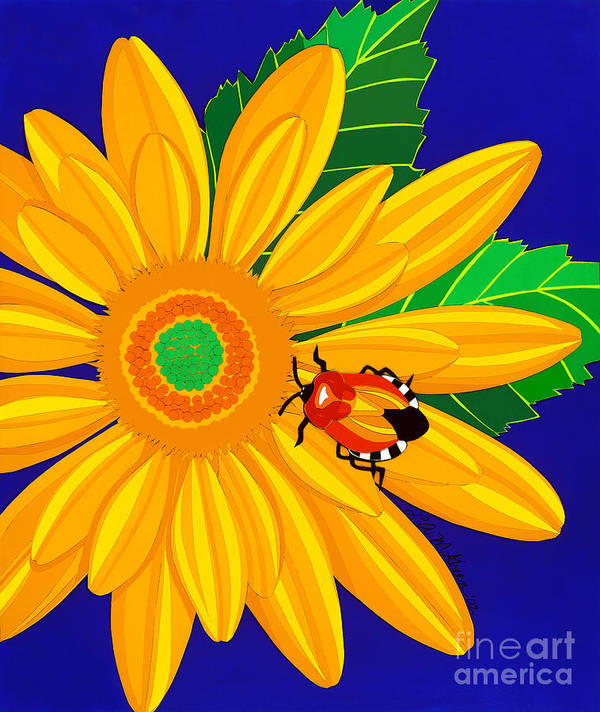 Nature Poster featuring the drawing Daisy And Shieldbug by Lucyna A M Green
