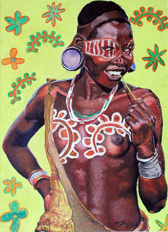 Africa Poster featuring the painting Daisy Child by Andre Ajibade