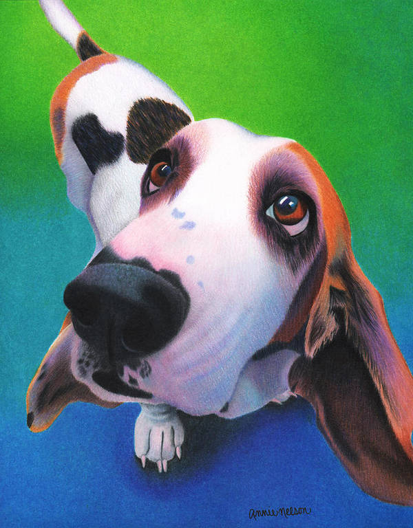 Basset Hound Poster featuring the painting Basset Hound - Daisy by Annie Nelson