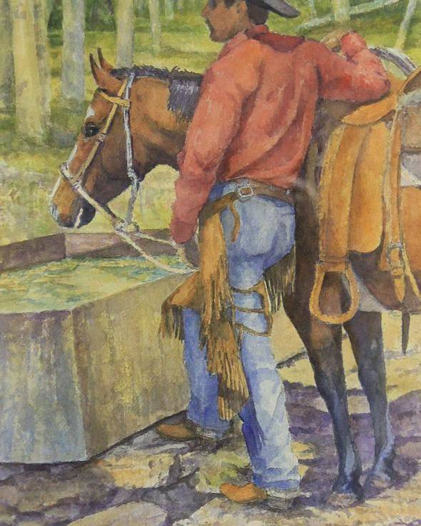 Cowboy And Horse Poster featuring the painting dallas and Rosco at the Holding Pasture Tank by Loren Schmidt