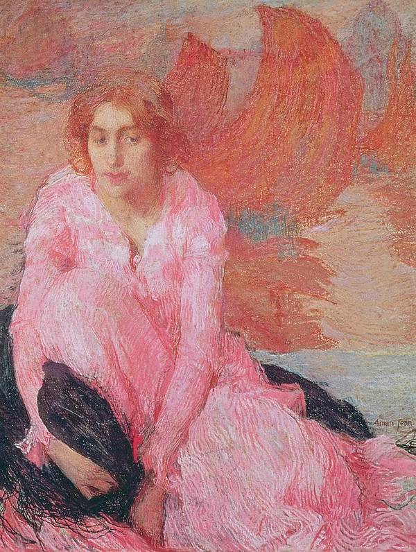 Dame En Rose By Edmond-francois Aman-jean (1858-1936) Poster featuring the painting Dame En Rose by Edmond Francois Aman Jean