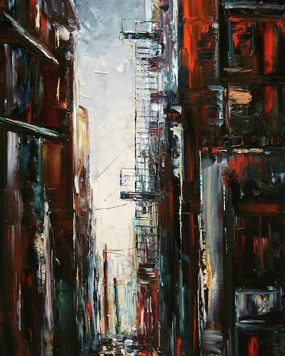 Cityscape Poster featuring the painting Damp And Cold by Debra Hurd