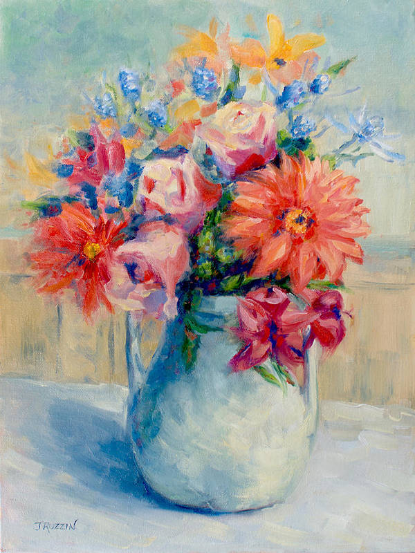 Still Life Poster featuring the painting Dana's Flowers by Jeanne Ruzzin
