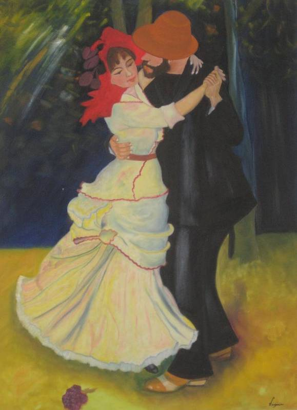 Figure Painting Poster featuring the painting Dance At Bougival by AVK Arts