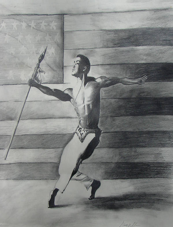 Black Art Poster featuring the drawing Dance For Freedom by Stacy V McClain