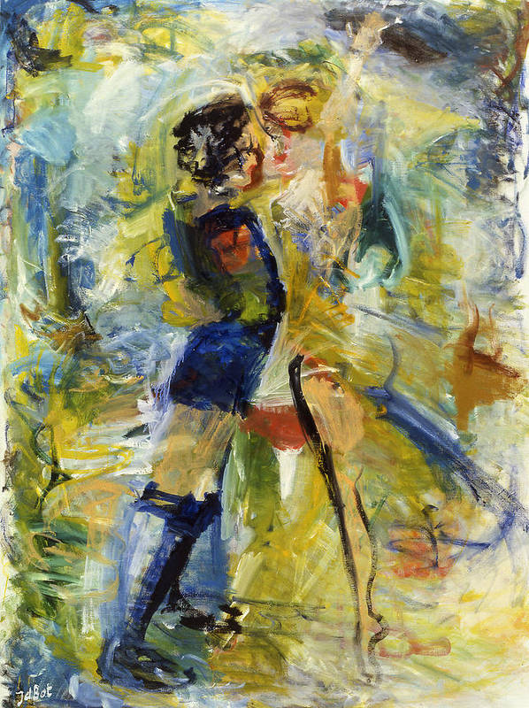 Dance Light Boy Girl Colors Poster featuring the painting Dance by Joan De Bot