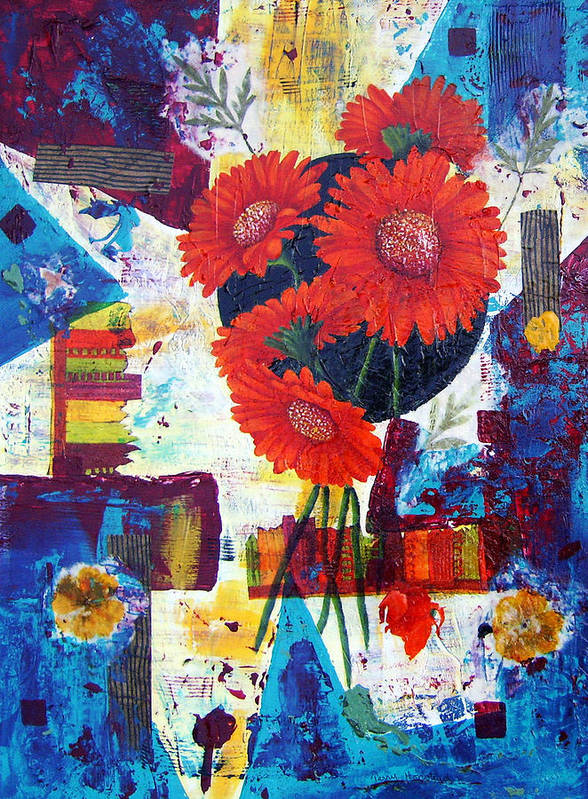 Daisy Flower Red Abstract Modern Collage Mixed Media Acrylic  Poster featuring the painting Dance Of The Daisies by Terry Honstead