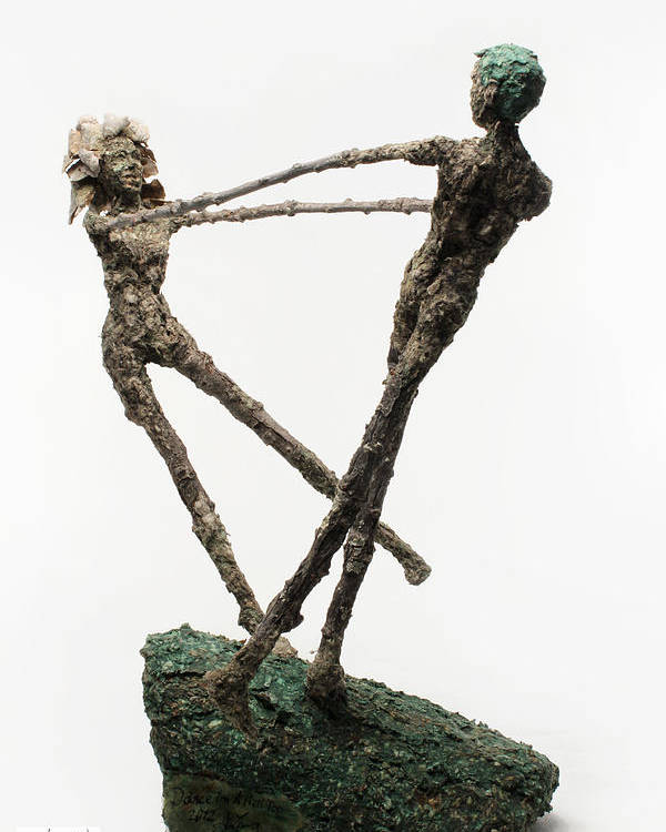 Dance Poster featuring the sculpture Dance On A Hill Top Back View by Adam Long