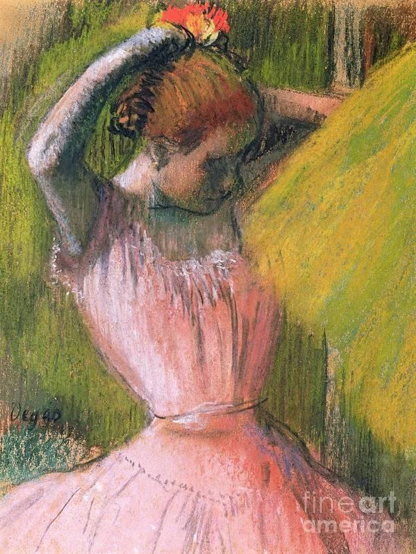 Ballerina; Drawing; Hairstyle; Pink Tutu; Ballet; Rehearsal; Rehearsing; Impressionist; Edgar Degas Poster featuring the pastel Dancer Arranging Her Hair by Edgar Degas