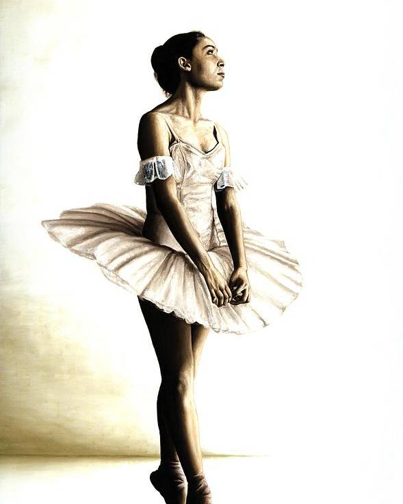Ballet Poster featuring the painting Dancer At Peace by Richard Young