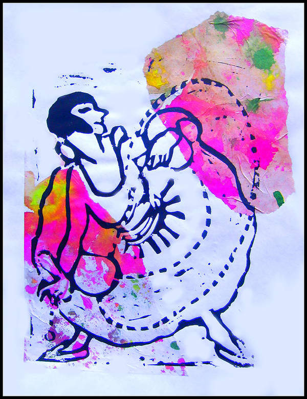 Lino Print Dancer Swing Cord Girl Lady Dance Poster featuring the mixed media Dancer With Cord by Adam Kissel