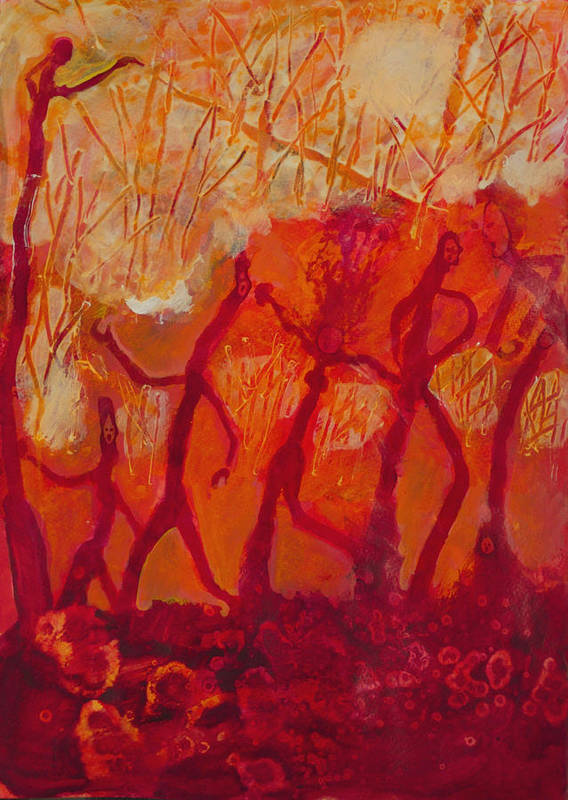 Red Poster featuring the painting Dancers by Robert Bissett