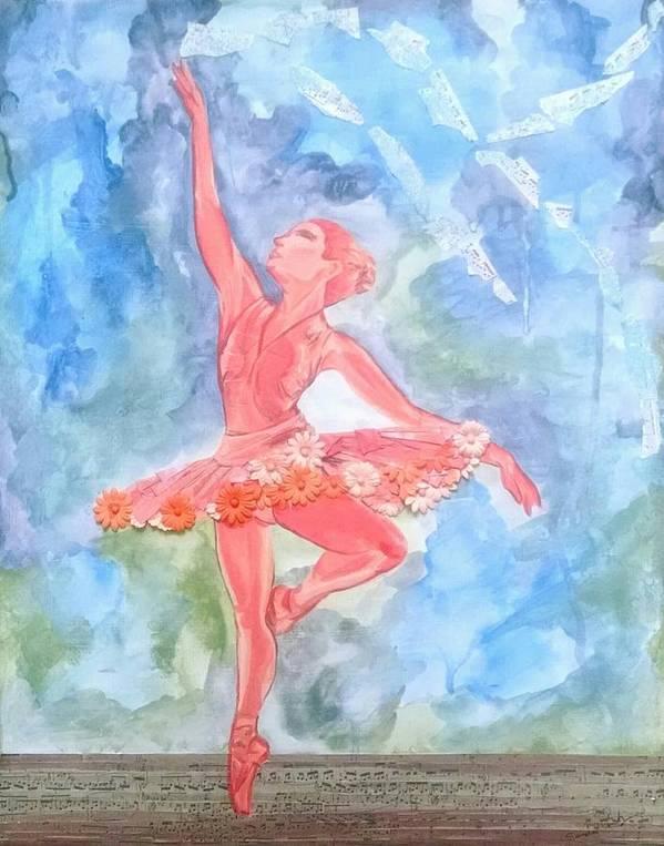 Ballet Poster featuring the mixed media Dancing Ballerina by Sandra Belz