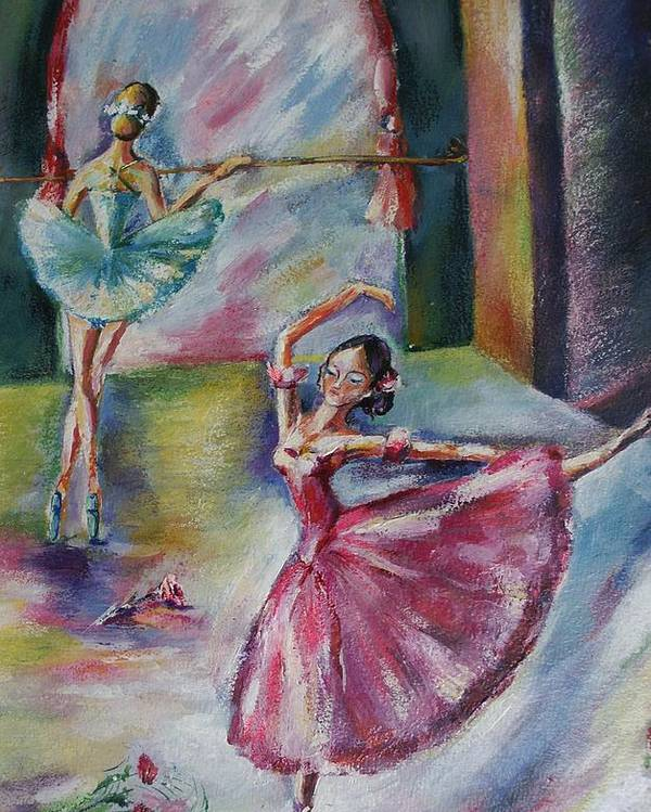 Ballerinas Poster featuring the painting Dancing Ballerinas by Khatuna Buzzell