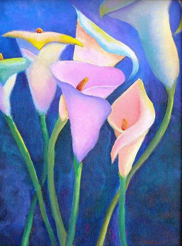 Flowers Poster featuring the painting Dancing Callas by Dorothy Nalls