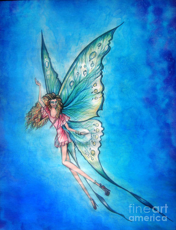 Fairy Poster featuring the painting Dancing Fairy In Blue Sky by Sofia Metal Queen