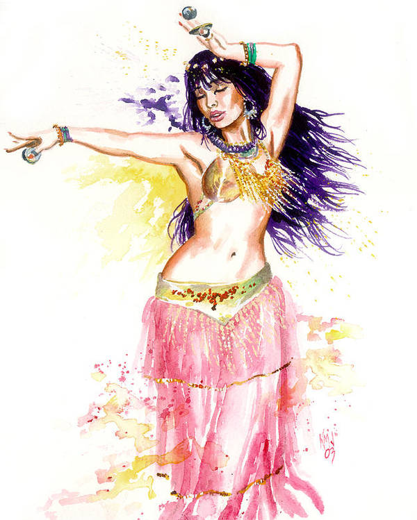 Women Poster featuring the painting Dancing Girl by Ken Meyer